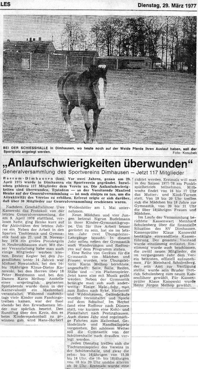1977 Anlaufschwierigkeiten